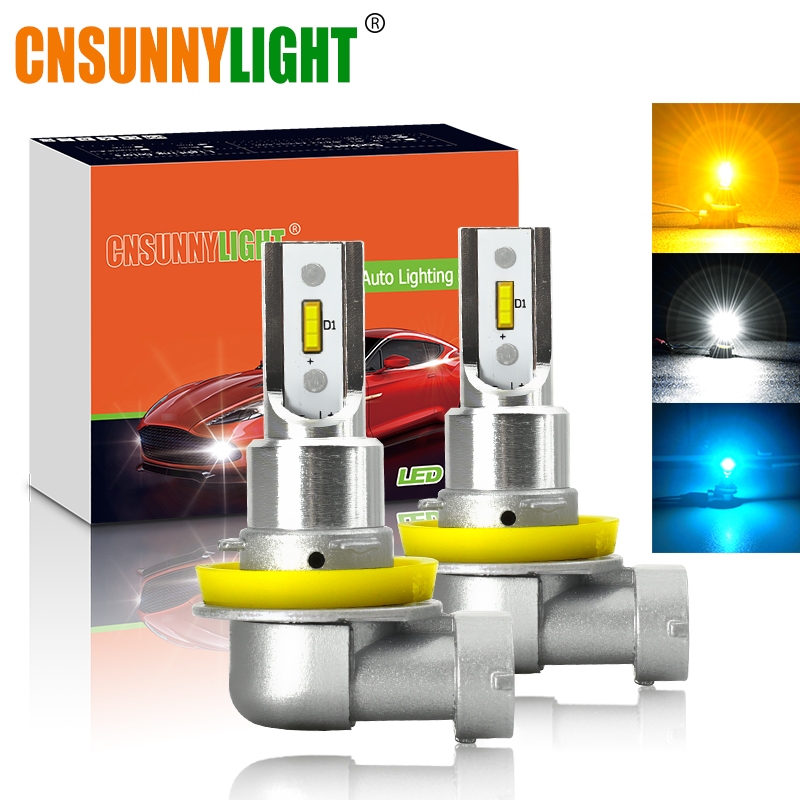 CNSUNNYLIGHT H11 H8 LED Car Fog Light Bulbs H9 H16 9005 9006 2400Lm 6000K White 3000K Yellow 8000K Blue Auto DRL Foglamp 2Pcs