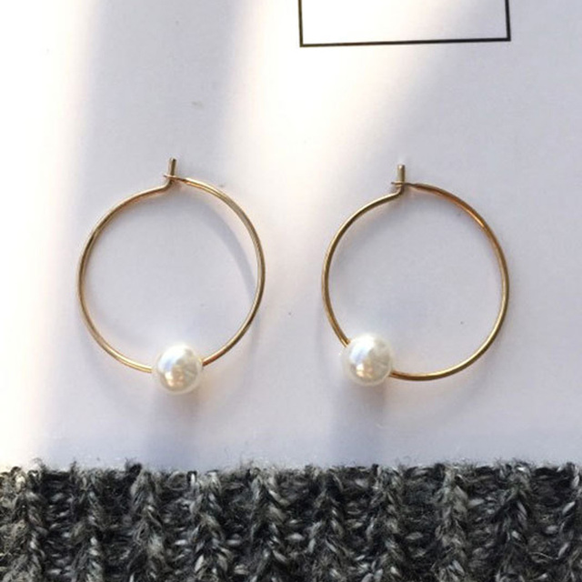 2018 Simple Gold Silver Color Simulated Pearl Geometric Round Circle Hoop Earrings for Women Girls Wedding Party Jewelry