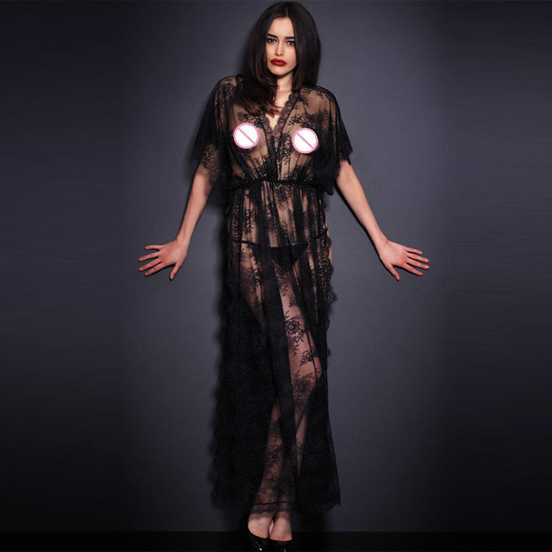 1PCS Hot Sexy Lingerie Costumes Plus Size Lace Black Kimono Intimate Sleepwear Robe Sexy Night Gown Women Sexy Erotic Underwear