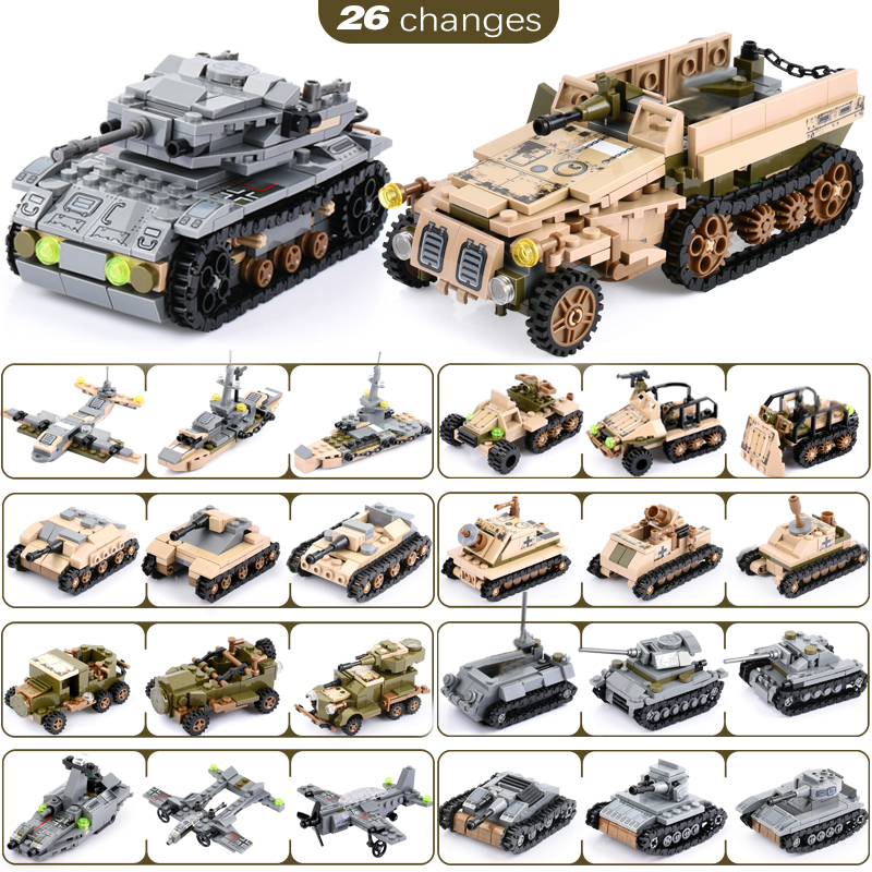 Image 4 - 1061+PCS Building Block Compatible LegoINGlys City Blocks Army Truck Building Blocks Military Vehicle Playmobil Toy For Children-in Blocks from Toys & Hobbies