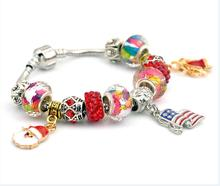 Hot Sale European Style christmas xmas Glass Bead Bracelet for Women With Safety Chain Rhinestone Strand Pulseras Luxury Bijoux