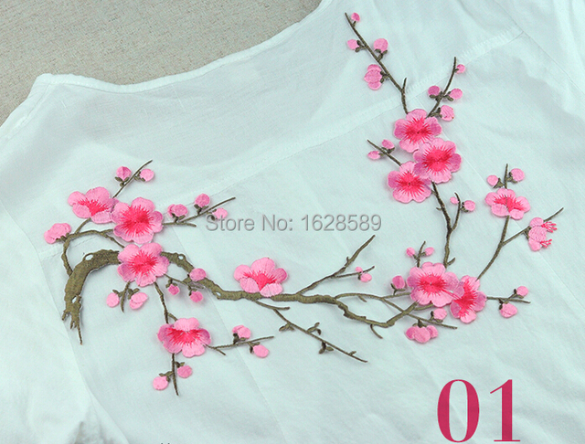 Chinese embroidery patches plum flower pink red white iron on