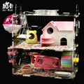 Pet Small Animal Cage Hamster Villa Warm House with Furniture Exercise Running Wheels Roller Guinea Pig Bed House Rat Wood Toys