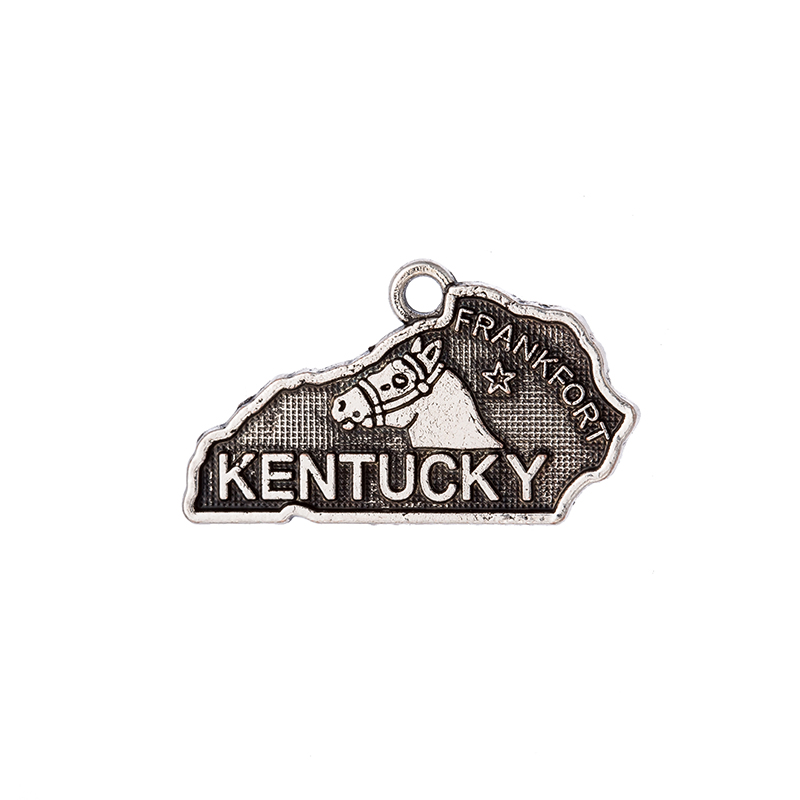 2 Style Double side Silver Kentucky State Map Dangle Charms Jewelry DIY Fit Bracelet Necklace 50PCS/Lots