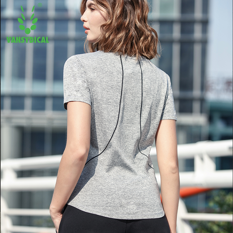 VANSYDICAL Gym Top Women 2018 Yoga Tops Short Sleeve T