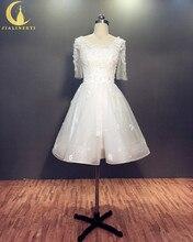 Rhine Real Sample Half Sleeves Lace Appliques Flowers Knee Length Bridal Wedding Dresses Wedding Gown
