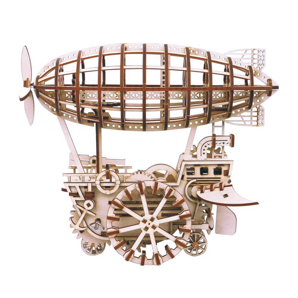 Robotime DIY Moveable Airship Gear Drive by Clockwork 3D Wooden Model Building Kits Toys Hobbies Gift for Children Adult LK702