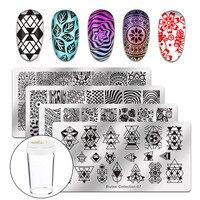 Biutee Nail Art Stamp Stamping Templates Stamper Scraper Kit 4 Manicure Plates Set With 1 Polish