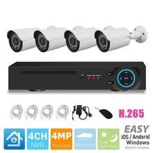 H.265 4-канальный 4MP POE NVR с 4 шт наружная пуля 4.0MP Full HD ip-камеры с питанием по POE 4CH POE NVR набор CCTV комплект системы безопасности