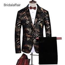 Merveilleux Élégant Hommes Costume Partie De Bal De Mariage Smokings Pour  Hommes Or Floral Imprimé Hommes Costume Blazer Avec Un.. ca858a18cd9