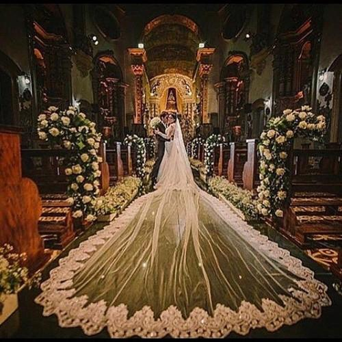 Vintage 5 Meters Long Cathedral Wedding Veils One Tier Bridal Dresses Veil Lace Applique Tulle With Comb White Ivory