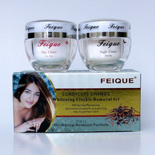 2014 New Arrival FEIQUE cordyceps sinensis whitening anti freckle cream 20g+20g facial 12 sets/lot