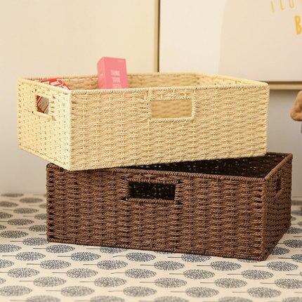 Plain weave braid collection baskets unclaimed desktop debris collection dwelling box rectangular box braid