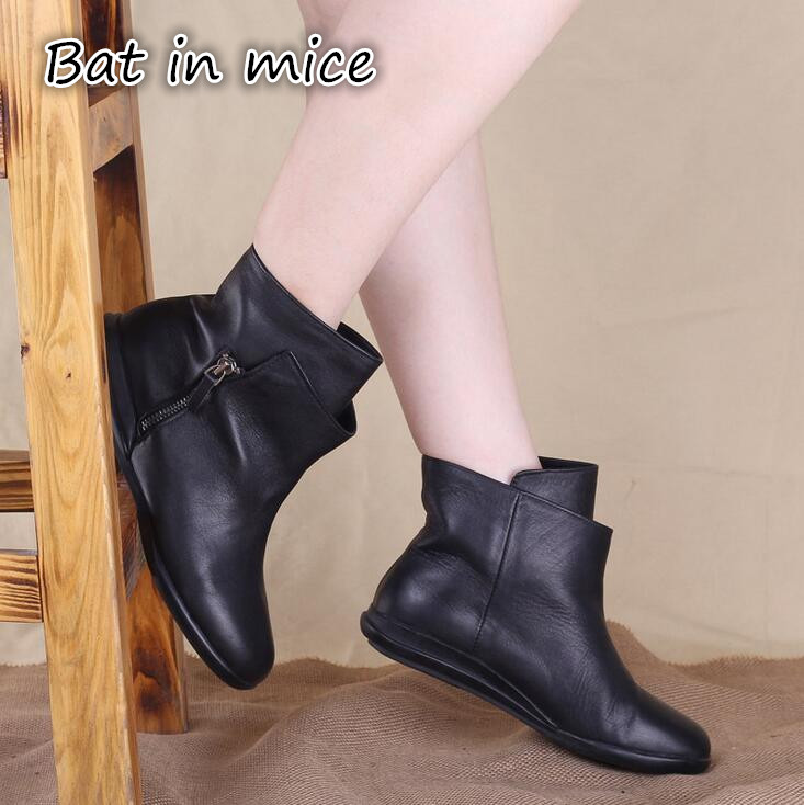 New 2017 Autumn Winter Fashion Genuine Leather Boots Women Flats Ankle Boots Casual Round Toe Buckle Zip Martin Boots Z352 front lace up casual ankle boots autumn vintage brown new booties flat genuine leather suede shoes round toe fall female fashion