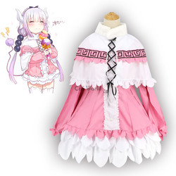 Traje de vestir de la señorita kobaykashi dragón criada Kamui Kanna camisa vestido uniforme Meidofuku Anime vestuario Cosplay traje de vestir