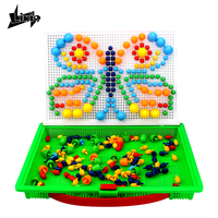 Likiq 296pcs DIY Mosaic Mushroom Nail Kit Composite Picture Puzzle 3D Creative Mosaic Learning toys for children kids Board Game