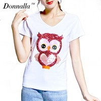 Donnalla Women T Shirt Embroidery Owl Cotton T Shirt Short Sleeve T Shirts Women Summer T