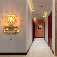 100 Quality Modern Fashion K9 Crystal Gold Color Led E14 1 3 Wall Light For Bedroom