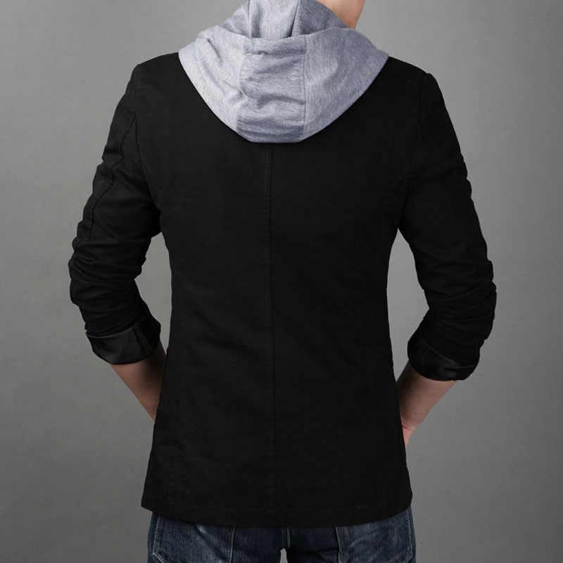 Pluz tamaño L-8XL hombres Blazer 2019 nueva moda chaqueta con capucha hombres Casual Slim Fit Classic Suits hombres falso dos piezas trajes