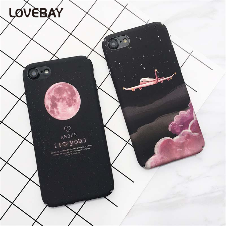 Lovebay Phone Case For iPhone 7 7 Plus Fashion Pink Cartoon Moon Eclipse Airplane Hard PC Full Protect For iPhone 7 Phone Case ...