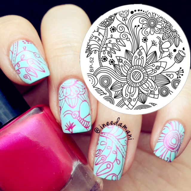 Full Beautiful Flower Nail Art Stamping Template Image Plate BORN ...
