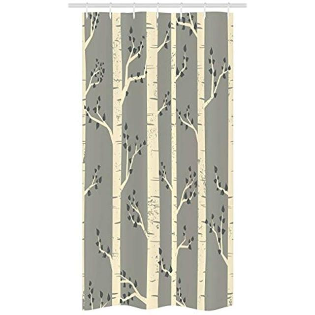 Vixm Grey Stall Shower Curtain Birch Tree Branches Vintage Bohemian Contemporary Illustration Of Nature Fabric Bath Curtains