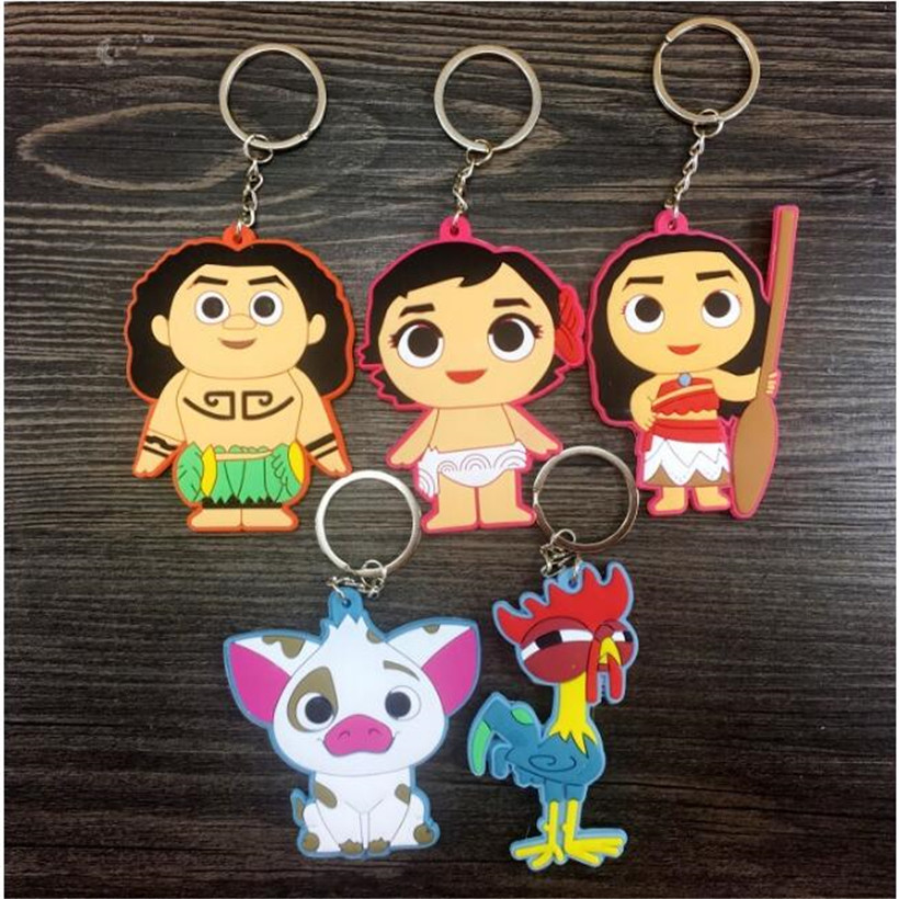 5 Pcs/Set Marine Romance Moana Princess Keychain Cartoon Double PVC Keychain Pendant Kids Toys Anime Action Figure Best Gifts
