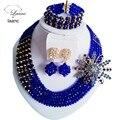 Laanc Блестящий Позолоченные и Королевский Синий последние нигерийские африканские свадебные бусы комплект ювелирных изделий кристалл C2657