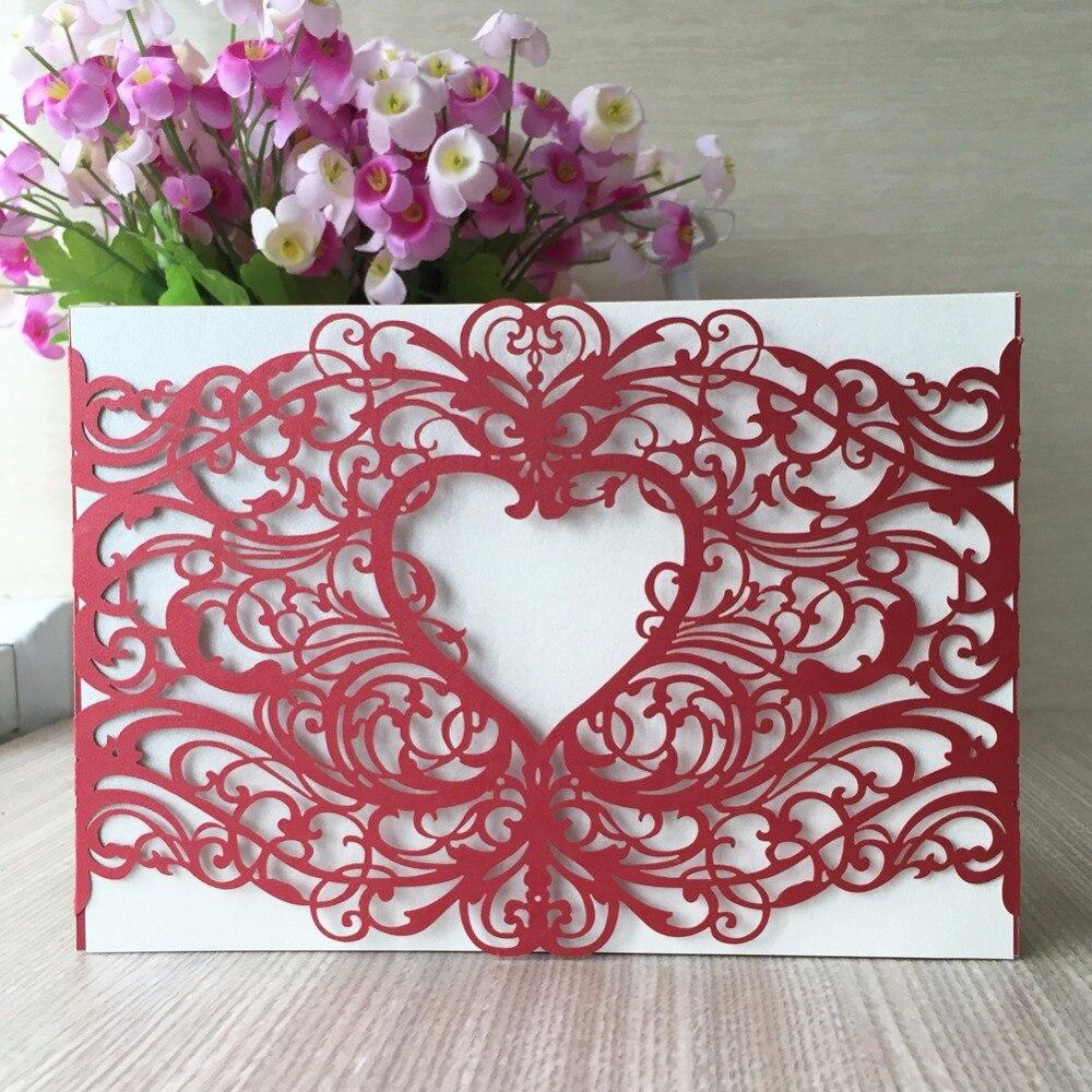 100pcs/lot 21 Colors Heart Style Laser Cut Wedding Invitation Cards ...