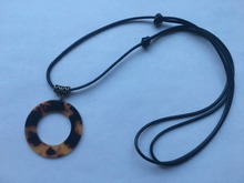 adjustable necklace sunglass holder with tortoise acetate pendant waxed cotton cords lanyard strings reading glass chain