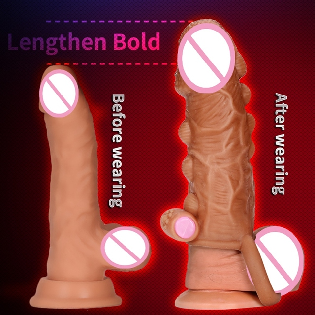 Dildo Extender Penis Enlargement Reusable Condoms Silicone Big Dotted Penis Sleeve  Cock Ring With Solid Glans Delay Ejaculation 5