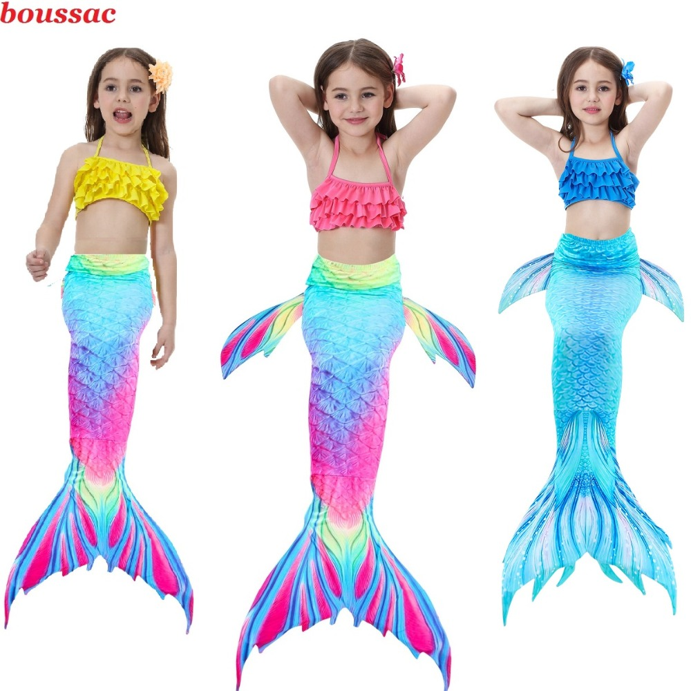 2019 Hot Mermaid Tails Costume for Kids Party Dress Swimsuit Bikini Bathing Suit Dress for Girls With Flipper Monofin For Swim