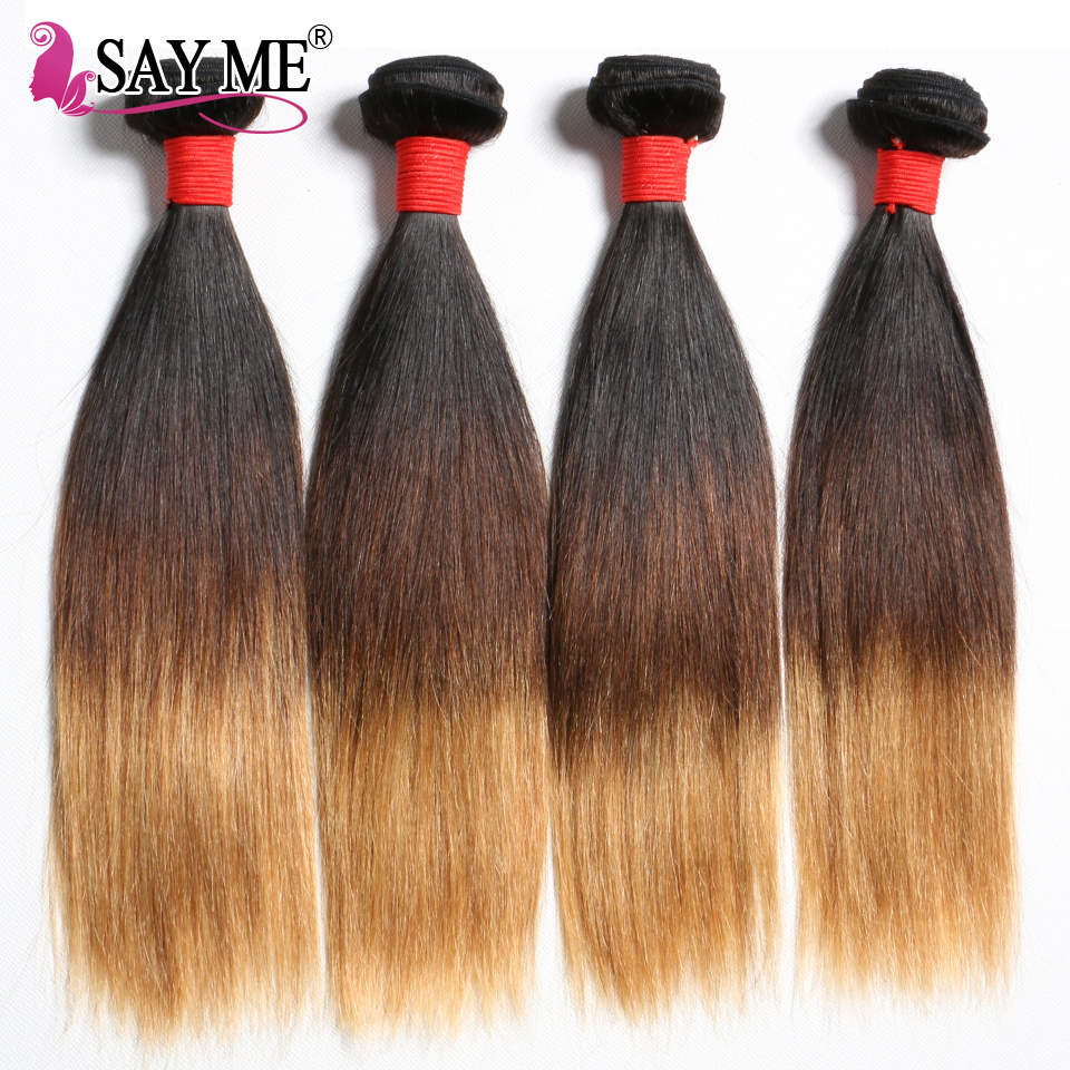 4 Bundles Straight Hair Bundles Brazilian Hair Weave 4 Pcs Bundles Deal 3 Tone ombre Hair
