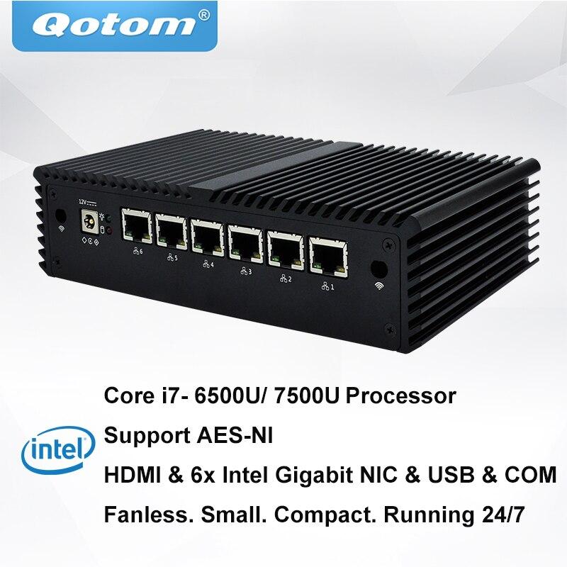 QOTOM pfSense Appareil Q500G6 avec Puits De lumière Core I7-6500U Kabylake Core i7-7500U Processeur 6 Gigabit NIC sans ventilateur Mini pc PFSense