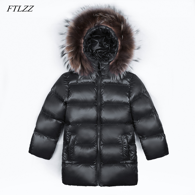 FTLZZ Winter Jacket Raccoon Fur Collar Down Parkas Kids Boy Girl Hooded Long 90% Duck Down Jaclet Thick Snow Coat Outwear цена