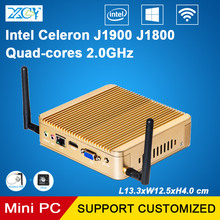 XCY безвентиляторный мини-ПК Celeron J1900 quad-ядер 2.0 ГГц J1800 Windows10 HDMI VGA WIFI маленький настольный компьютер HTPC