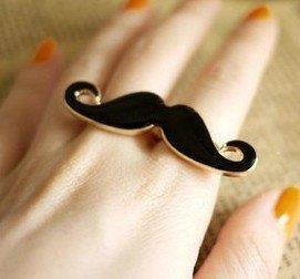 Free Shipping,R037 ,Fashion Creative Double Finger Rings,Black Beard Mustache Ring,Wholesale