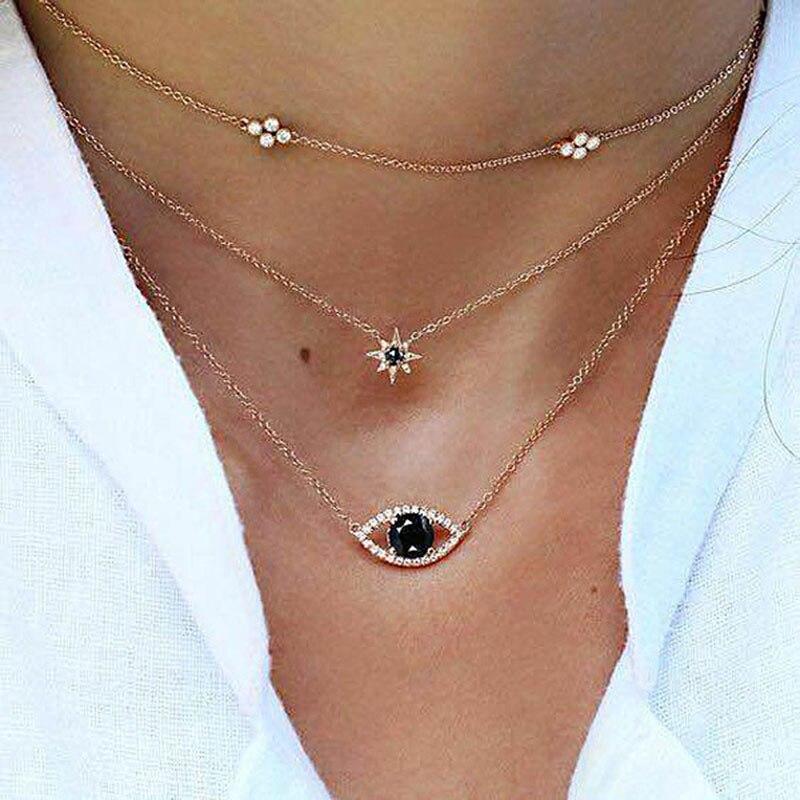 New Fashion Women Beach Multi-layer Crystal Long Statement Necklace Fine Jewelry