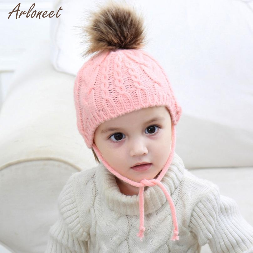 2017 hat baby knit pom pom solid baby hat cute Unisex child hat beanie baby beanie kinted dec8