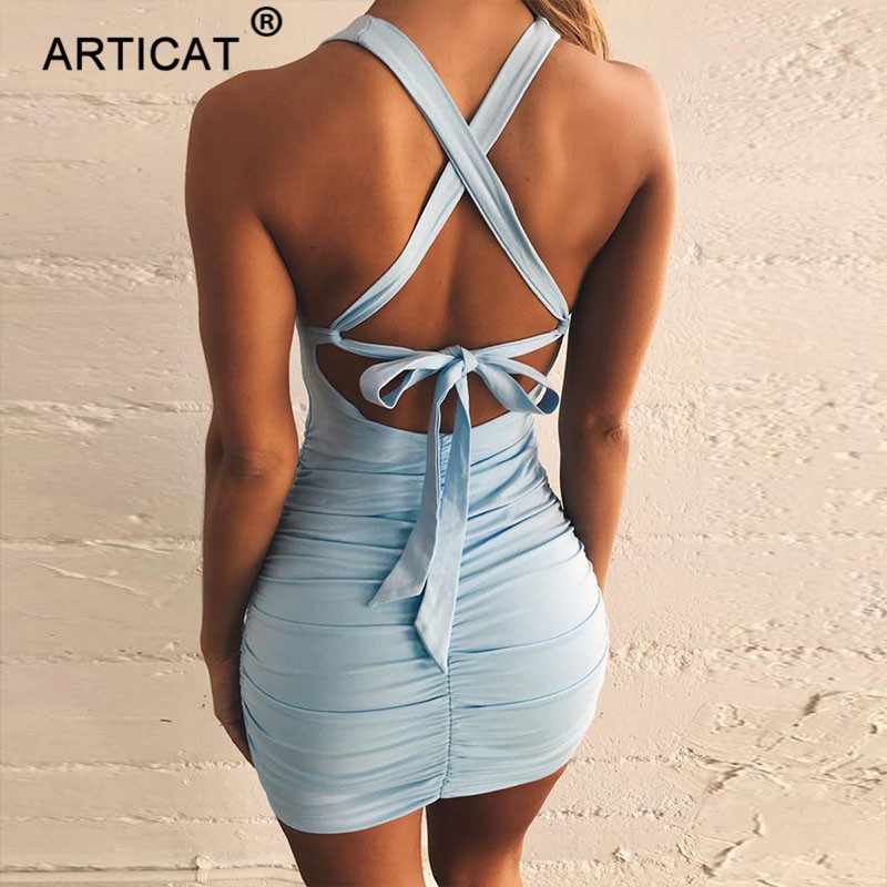 Articat Cross Bandage Sexy Lace Up Backless Summer Dress Women V Neck Hollow Out Bodycon Mini Dress Casual Pleated Beach Dress|Dresses| - AliExpress