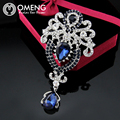 OMENG Fashion Silver  Brooch Bouquet Big Red Brooch Pins For Women Wedding Jewelry Clothes Scarf Accessories  OXZ021