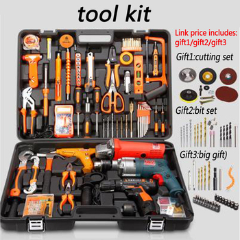 Household tools package Hardware set Electric drill home electrician maintenance Multi functional portable hardware tool 1pc|Hand Tool Sets|Tools -