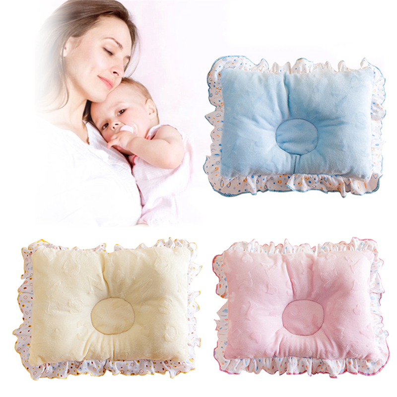Soft Cotton Position Baby Pillow Newborn Lovely Cartoon Newborn Baby Anti Flat Head Baby Sleep Pillow With Lace