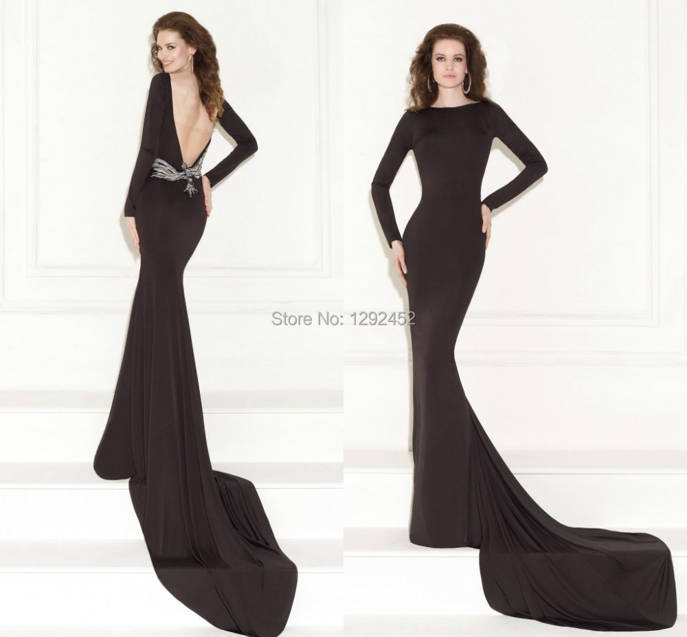 Classical Bateau Neck Long Sleeves Black Tarik Ediz 2015 Prom Dress Gown Vestidos De Noiva Beaded Backless Mermaid Evening - newdesignbridaldream store