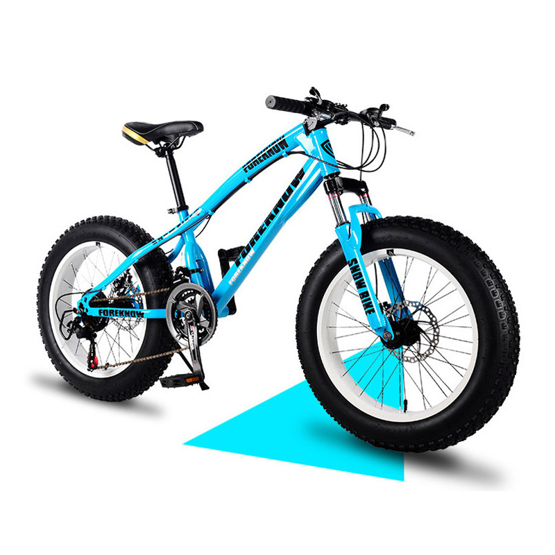 Snowy Mountain Bicycle 20 Inch 4.0 Tire Double Disc Brake Adult Variable Speed Off-Road Beach Bicycle