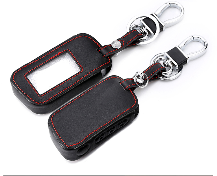 Leather Starline A93 Car Key Case For A39 A63 Two Way Car Alarm Remote Controller A93 LCD Transmitter KeyChain