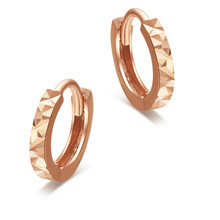 VOJEFEN Mini Cute 18K Rose Gold Flashed 7mm Round Unisex Hoop Earrings Hypoallergenic Making ,2019