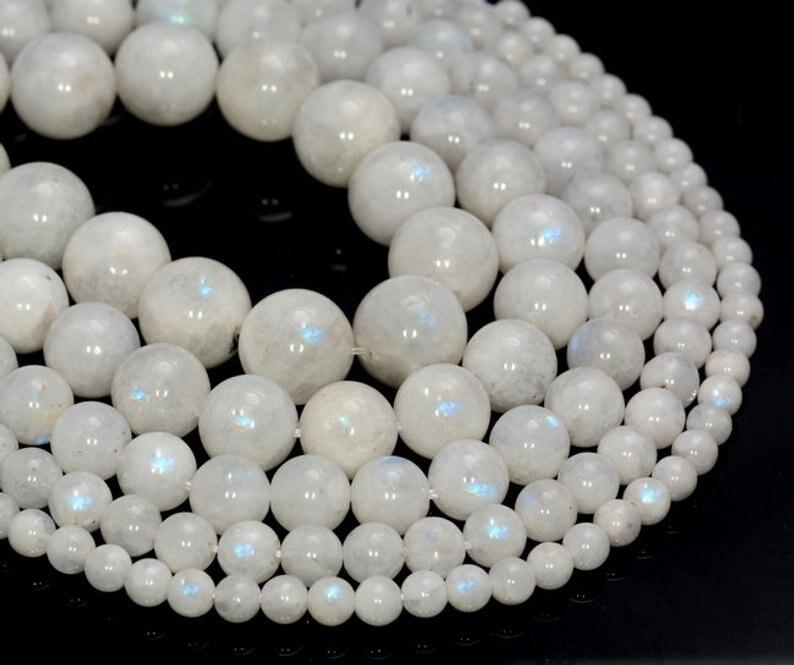 128  58 Pcs 104305 3-4MM Rainbow Moonstone Beads Grade AA Genuine Natural Round Gemstone Loose Beads