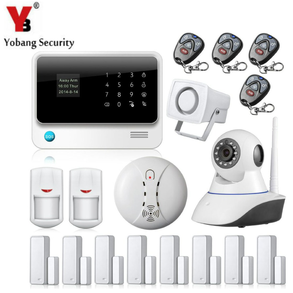 YobangSecurity Touch Screen WIFI GSM Alarm System Android IOS APP Controlled IP Camera Wireless Smoke Detector for Home Security yobangsecurity smart home security android ios wifi gsm gprs alarm with pet pir motion detector wireless smoke sensor ip camera