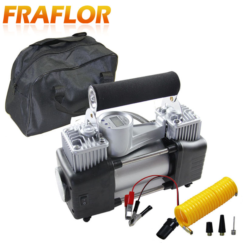 Image 2 - Car Tire Tyre Inflator Portable Metal Vehicle Auto Electric Pump Air Compressor Double Cylinder Digital Air Compressor-in Inflatable Pump from Automobiles & Motorcycles
